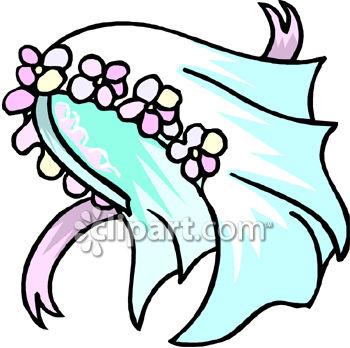 350x348 A Bridal Veil With A Flowered Headpiece