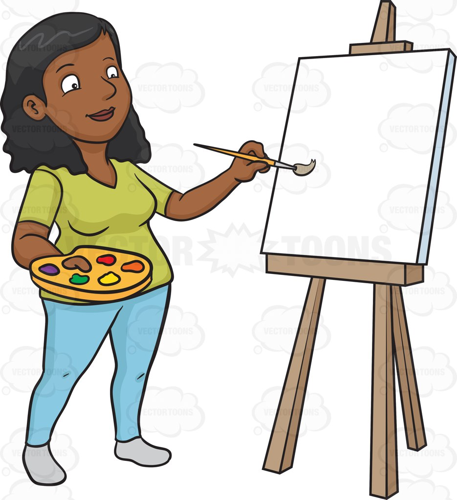 935x1024 A Black Woman Painting On A Blank Canvas Cartoon Clipart Vector