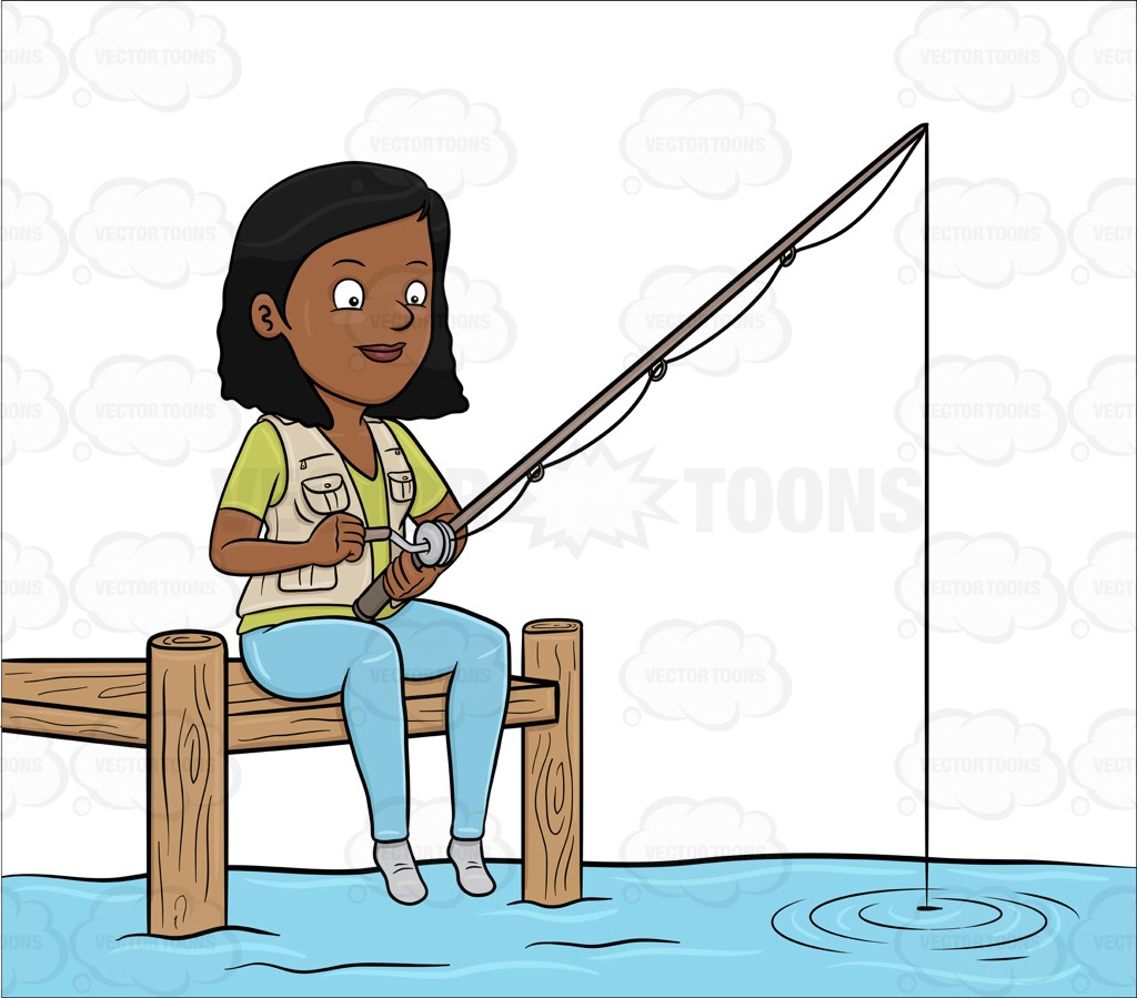 1024x899 A Black Woman Patiently Waiting To Catch A Fish Cartoon Clipart