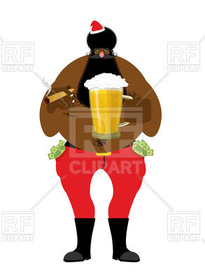 293x400 Bad Black Santa Claus With Beer And Cigar Royalty Free Vector Clip