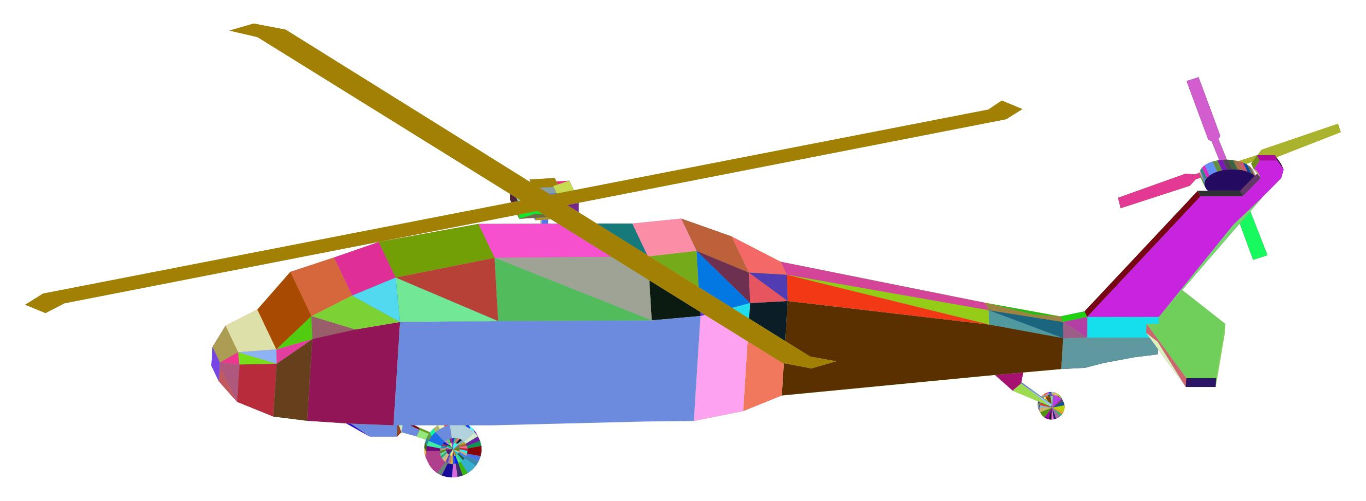 2658x975 3d Low Poly Blackhawk Helicopter Prismatic Clipart