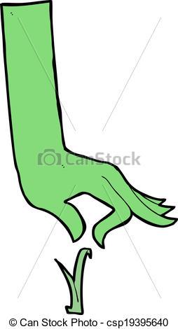 254x470 Cartoon Green Hand Picking Blade Of Grass Eps Vector