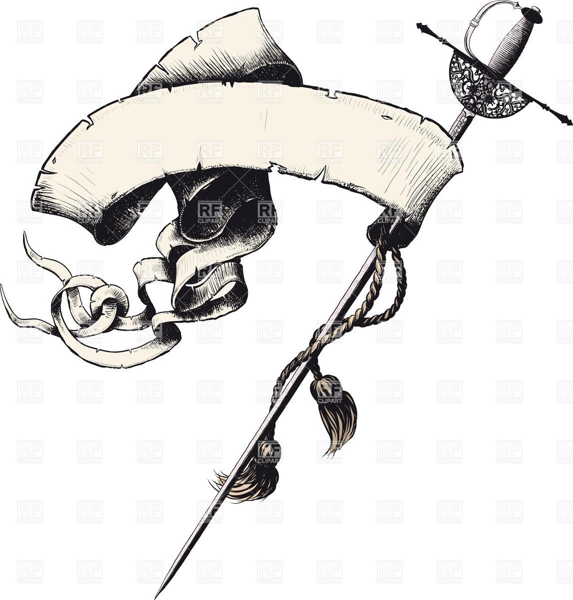 1147x1200 Elegant Serpentine Banner Entwined Around A Sword Blade (Rapier