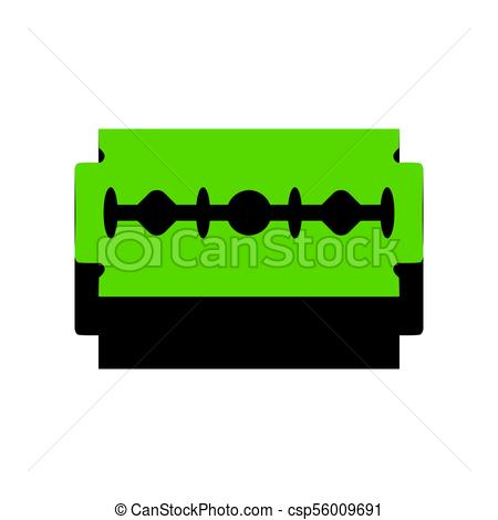 450x470 Razor Blade Sign. Vector. Green 3d Icon With Black Side On Eps