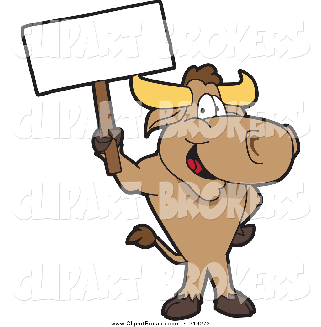 1024x1044 Cliprt Cartoon Of Happy Brown Bull Standingnd Holding