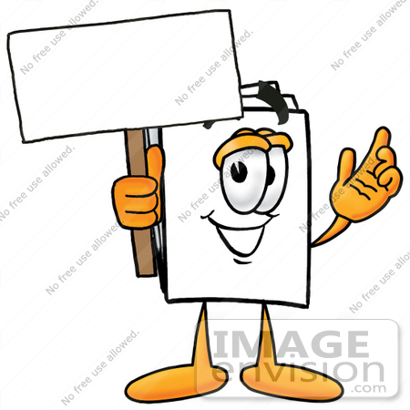 450x450 clip art graphic of a white copy and print paper cartoon character