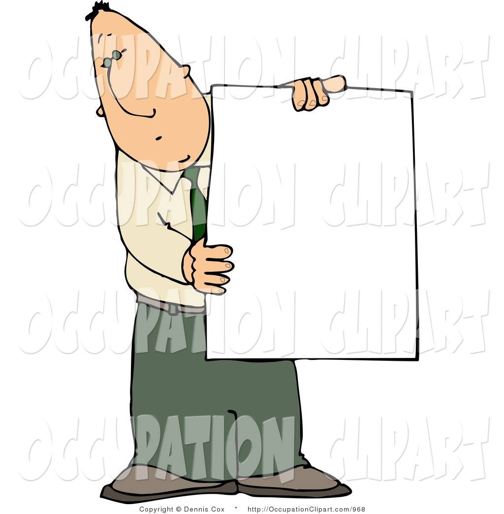 1024x1044 Clip Art Of A Businessman Holding A Blank Poster Board Sign In His