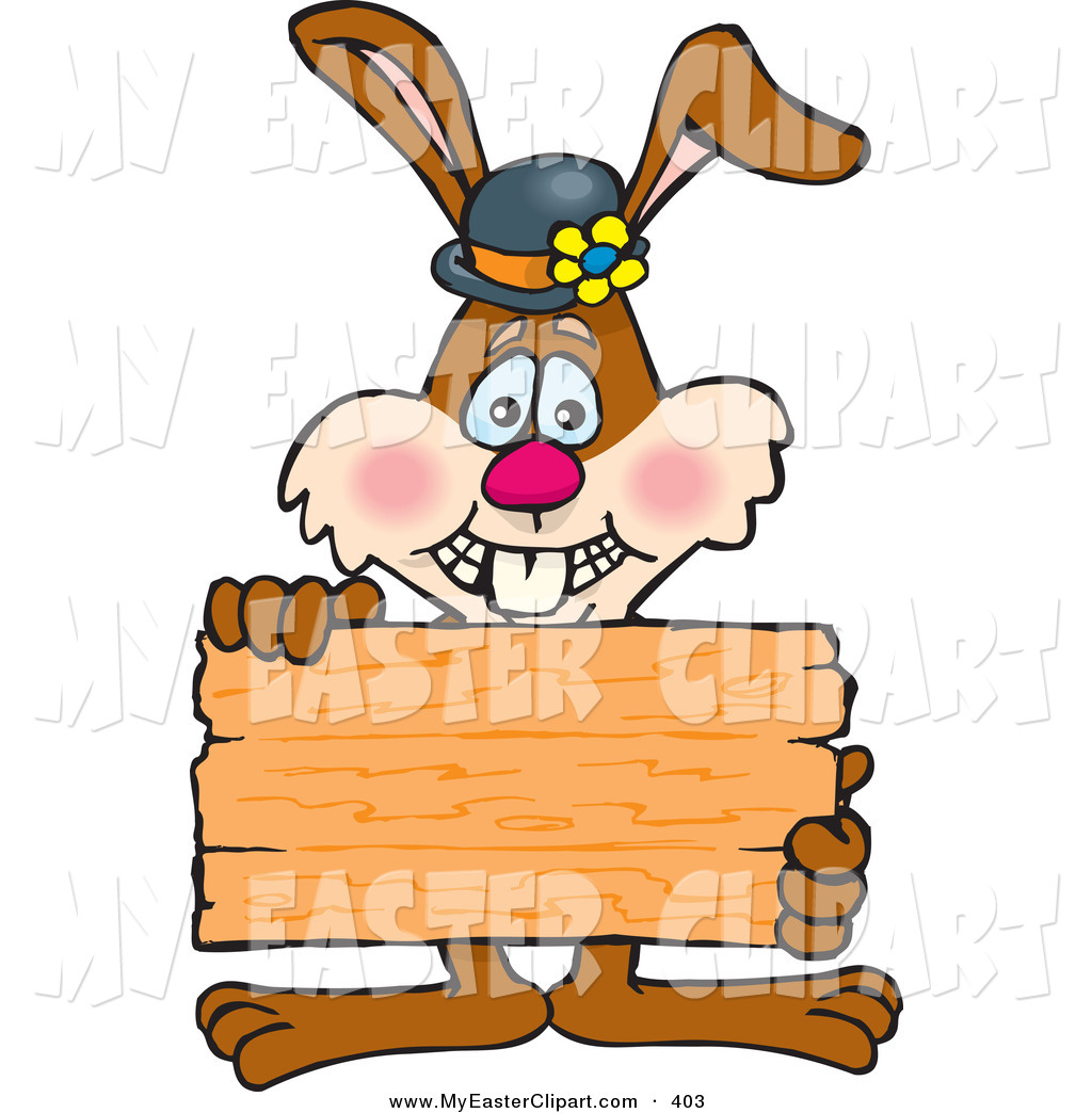 1024x1044 Clip Art Of A Grinning Bunny Rabbit Holding Up A Blank Wooden
