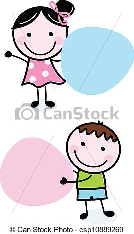 269x470 Doodle Boy And Girl Holding Blank Banners. Cute School Clip Art