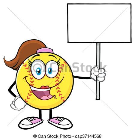 450x463 Softball Girl Holding A Blank Sign. Cute Softball Girl Clip Art