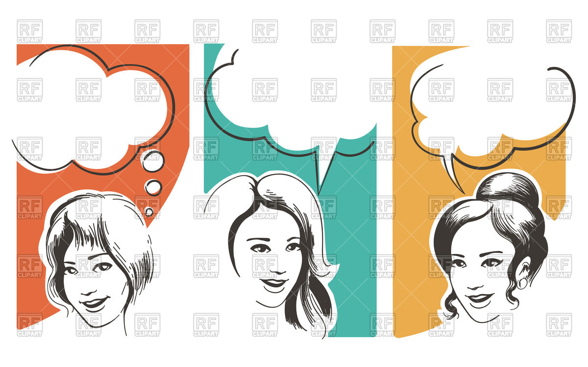 1200x750 Speaking Girls With Blank Speech Bubble Drawn In Retro Style