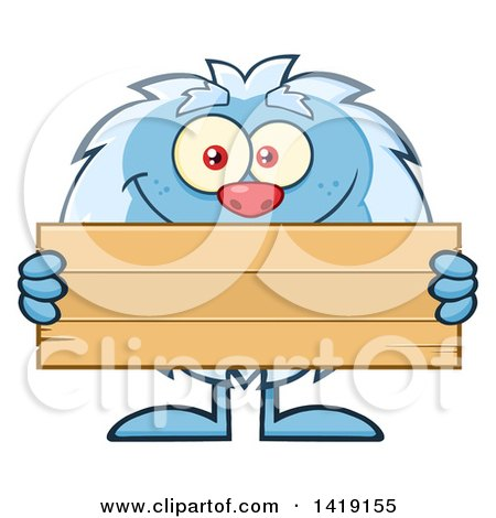 450x470 Clipart Of A Cartoon Yeti Abominable Snowman Holding A Blank Wood
