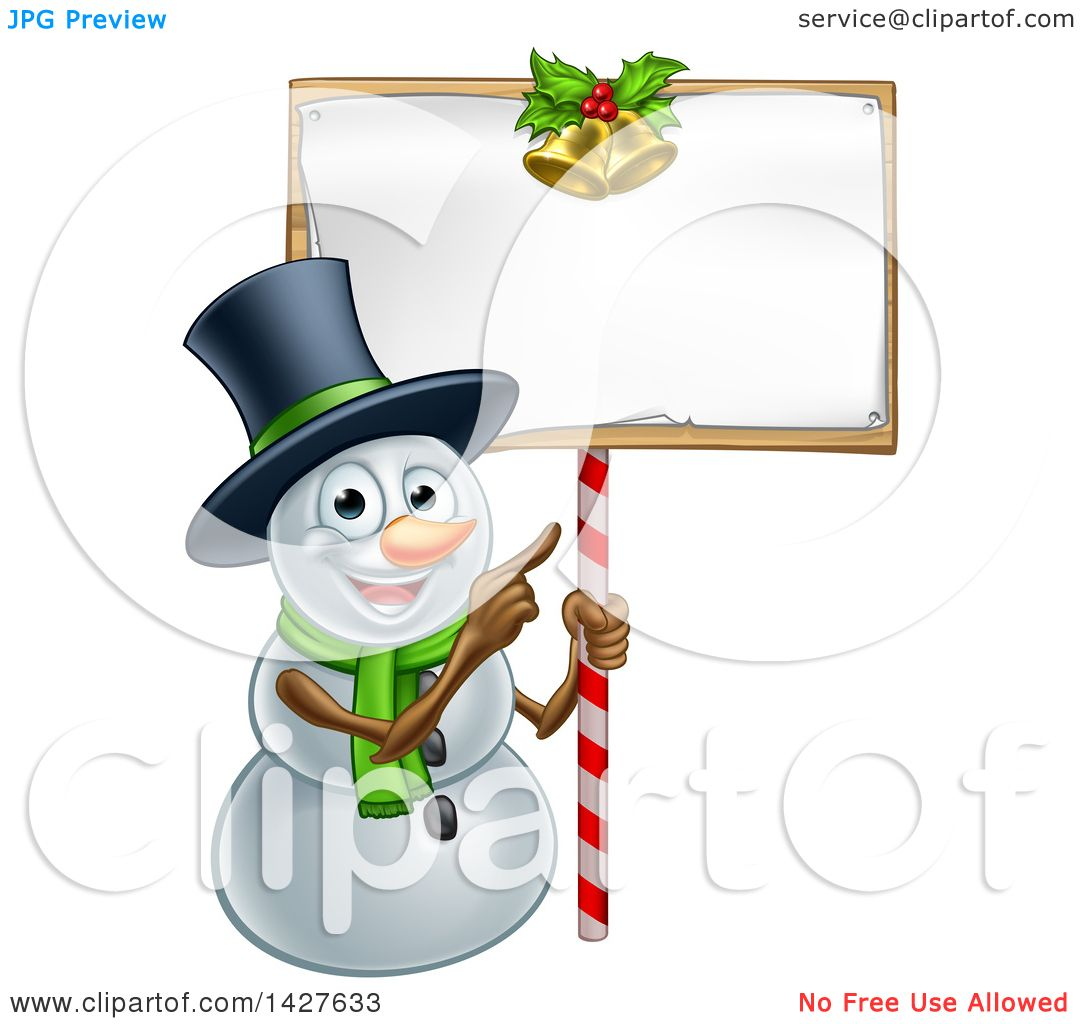 1080x1024 Clipart Of A Happy Christmas Snowman Wearing A Top Hat