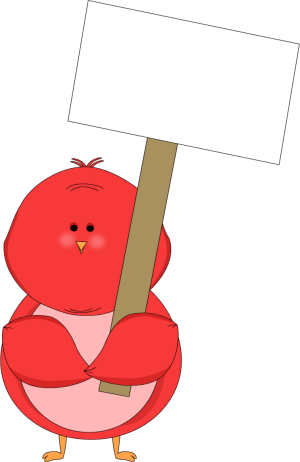 300x462 Red Bird Holding A Blank Sign Clip Art Red Bird Holding A Blank