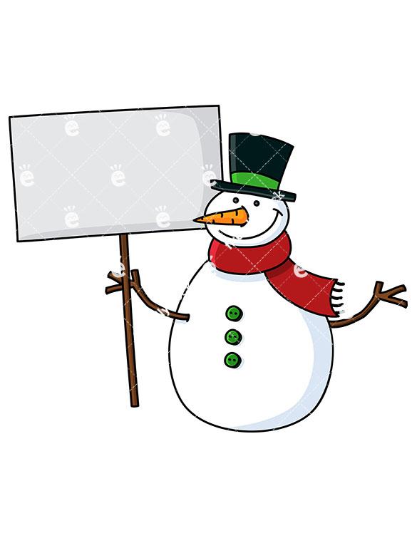585x755 Smiling Snowman Holding Blank Sign Cartoon Vector Clipart