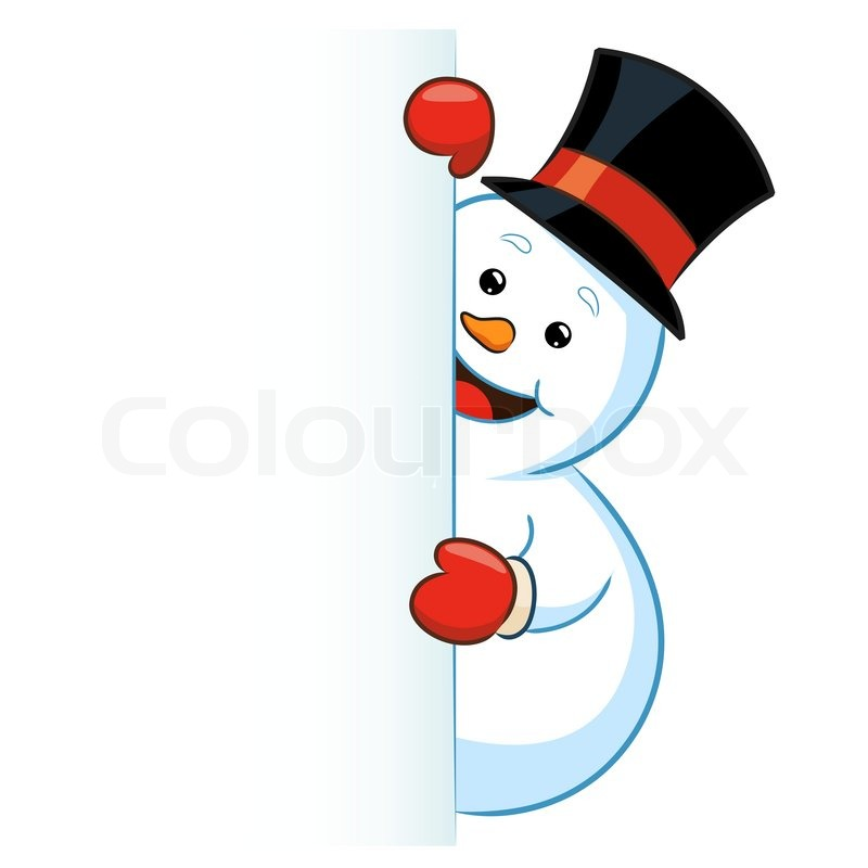 800x800 Vector Illustration Of A Snowman Peeking Out. Stock Vector