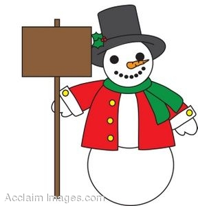288x300 Christmas Illustration Of A Snowman Holding A Blank Sign
