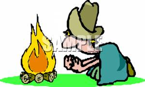 300x180 Cliprt Image Cowboy Under Blanket Warming His Hands On