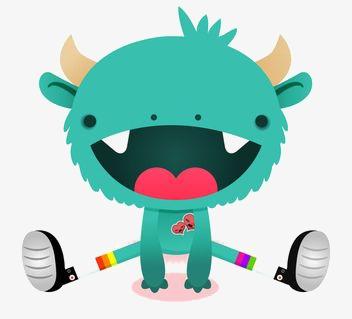 352x319 Little Monster, Hand Painted Monster, Cartoon Monster, Cute