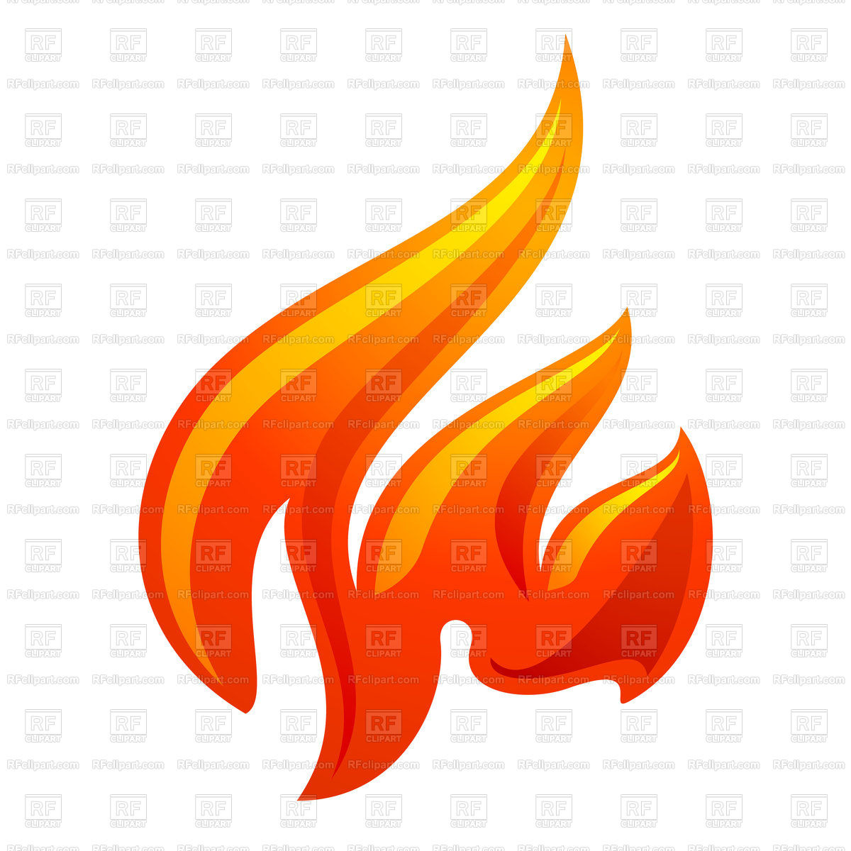 1200x1200 Fire Flame Color Icon On A White Background Royalty Free Vector
