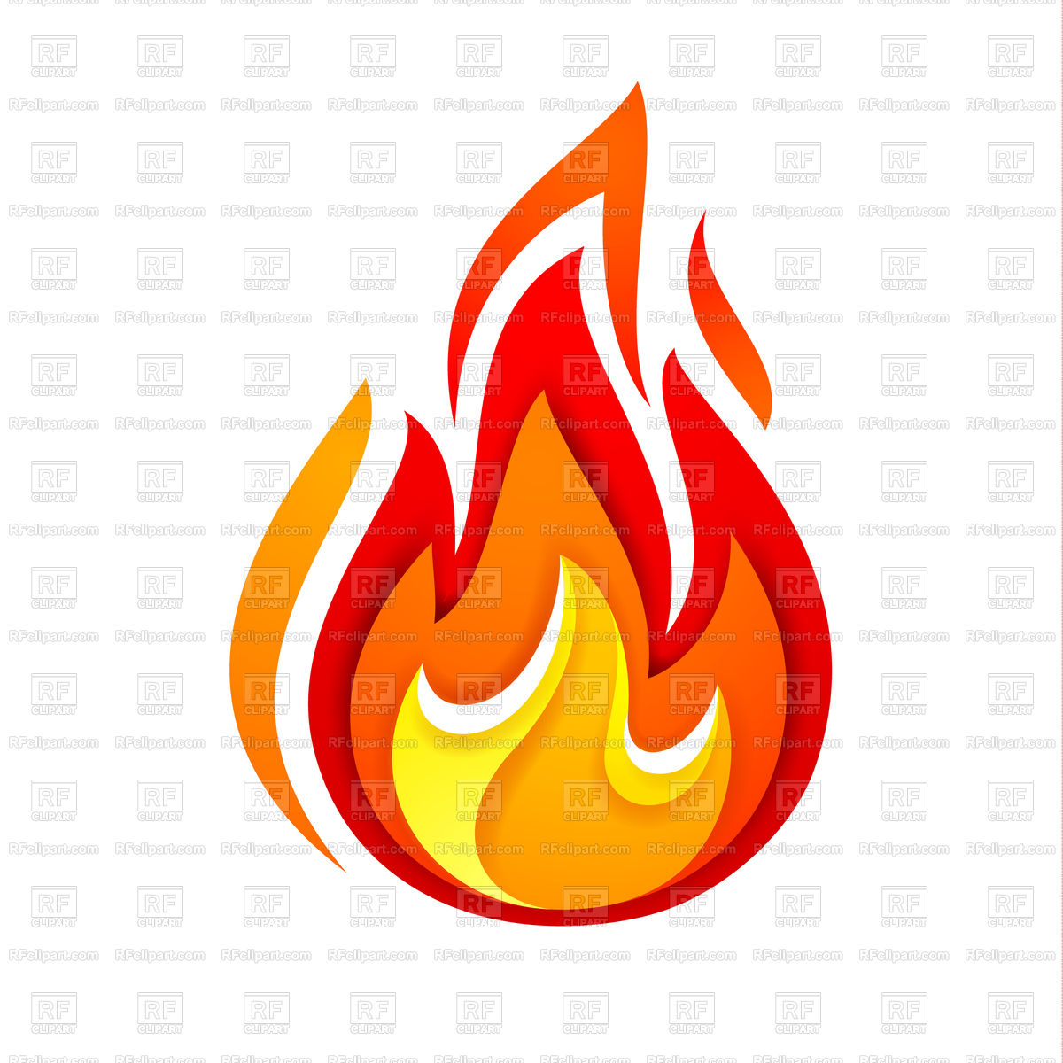 1200x1200 Fire Yellow And Red Icon Royalty Free Vector Clip Art Image