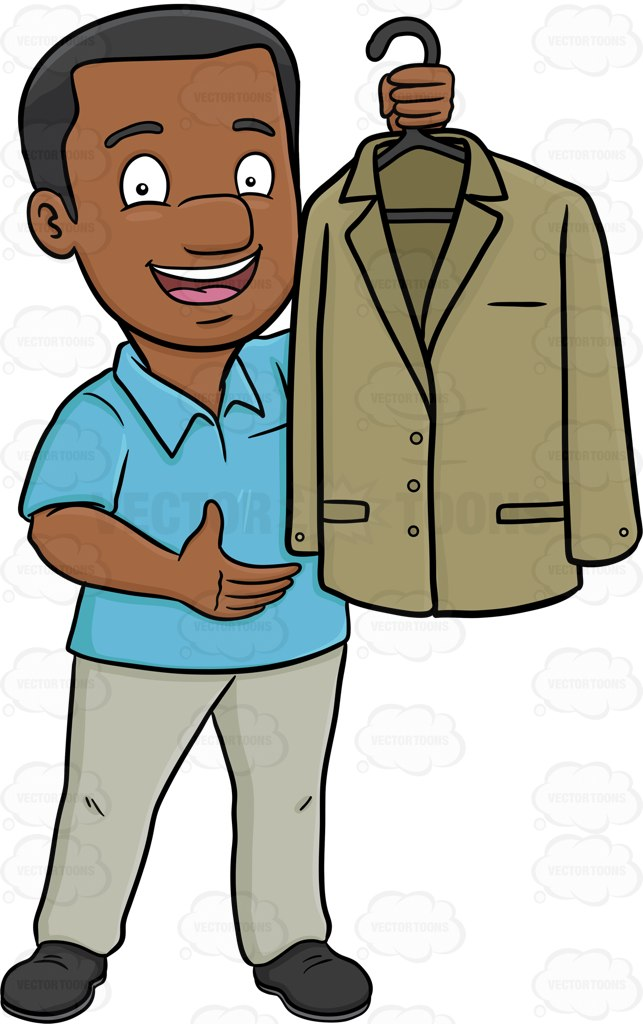 643x1024 A Black Man Proudly Shows Off A Clean Dress Jacket Cartoon Clipart