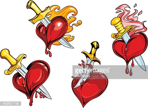485x355 Bleeding Hearts Stabbed By Daggers Premium Clipart