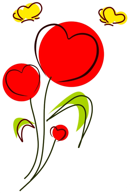 458x678 Clipart Hearts And Flowers