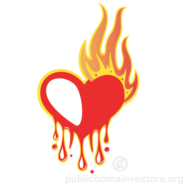 600x600 Bleeding Heart With Flames Vector Illustration 123freevectors