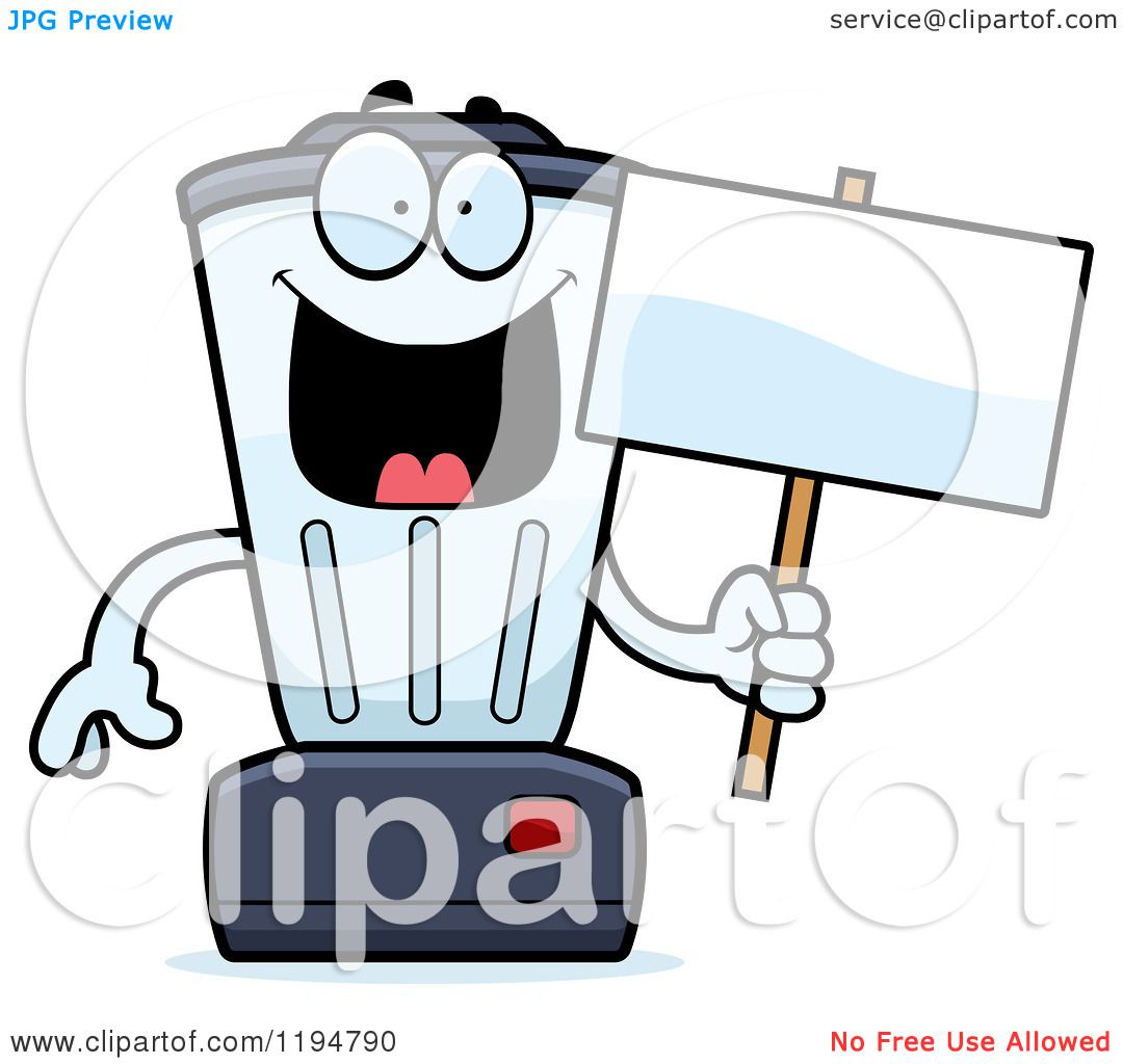 1080x1024 Cartoon Of A Happy Blender Mascot Holding A Sign