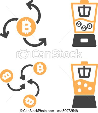 409x470 Bitcoin Blender Vector Icon Set. Style Is Bicolor Flat Eps