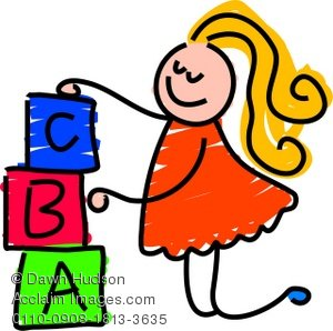 300x298 Clipart Illustration Of A Little Girl Playing With Building Blocks