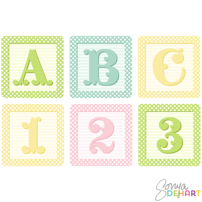 700x700 Vector Shaby French Baby Blocks Alphabet Clip Art Set