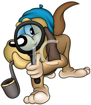 303x350 Cartoon Hound Dog Private Detective Searching For Clues