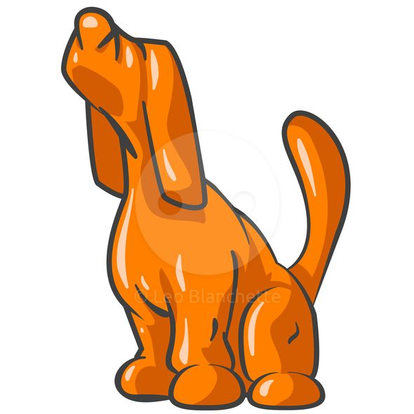 590x590 Clipart Illustration Of Hunting Orange Hound With Nose Sniffing