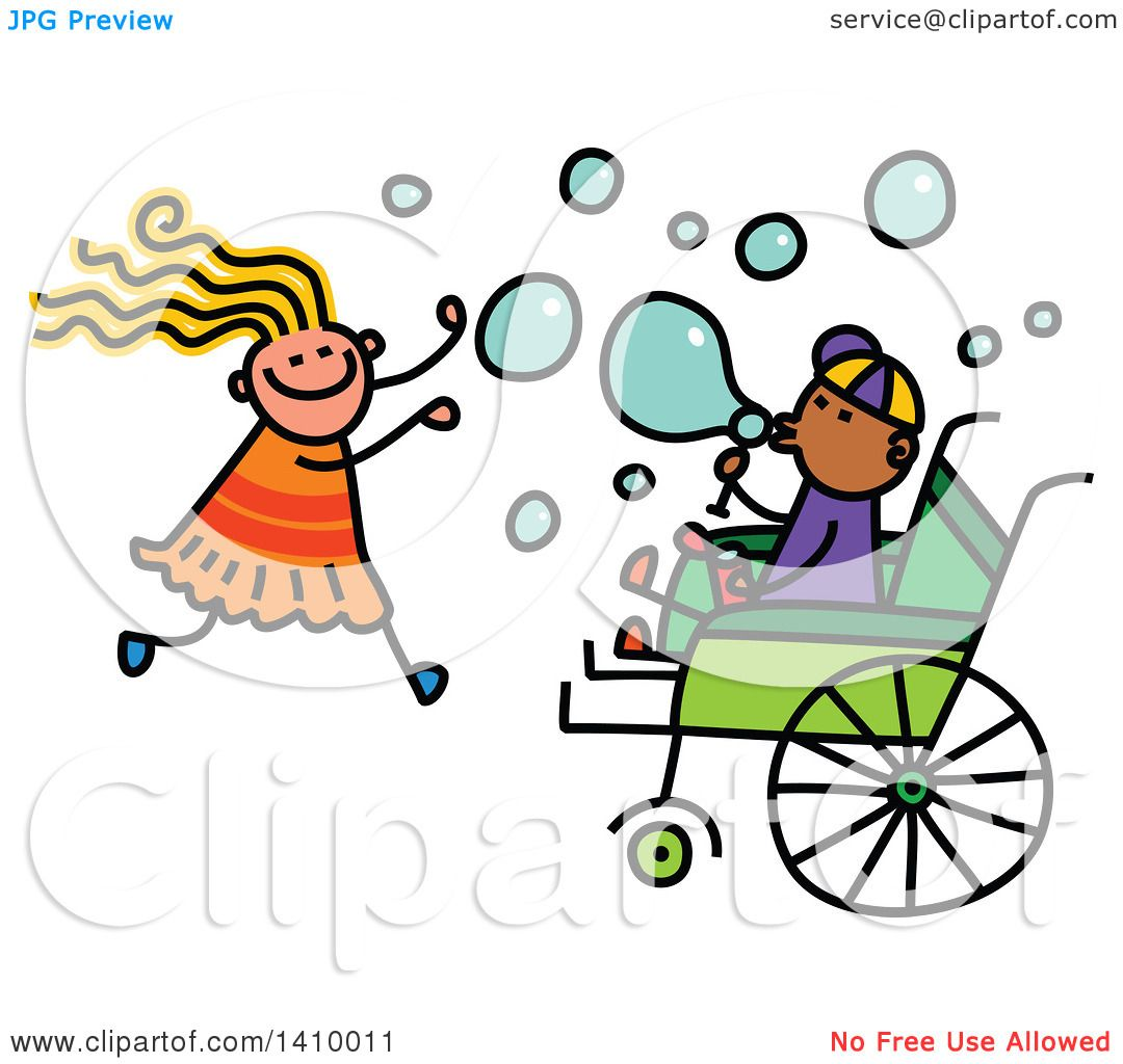 1080x1024 Clipart Of A Doodled Disabled Boy And Girl Playing And Blowing