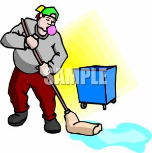 299x300 Royalty Free Clipart Image A Man Mopping The Floor While Blowing