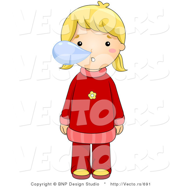 600x620 Vector Of A Sick Girl Blowing Snot Bubbles From Her Nose By Bnp