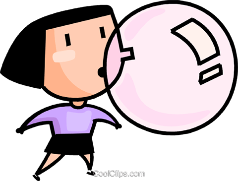 480x365 Girl Blowing A Bubble Royalty Free Vector Clip Art Illustration