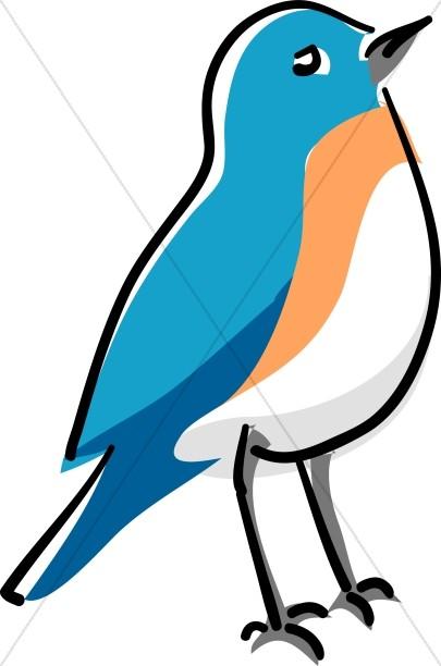 405x612 Blue Bird Standing Wildlife Clipart