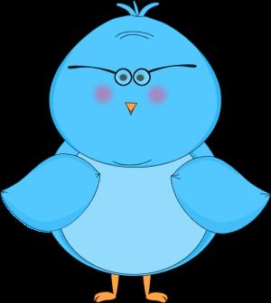 300x336 Blue Bird Wearing Glasses Clip Art