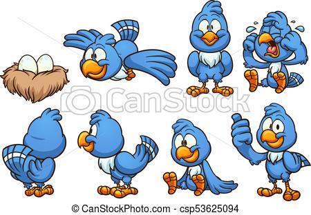 450x312 Cartoon Blue Bird In Different Positions. Vector Clip Art Eps