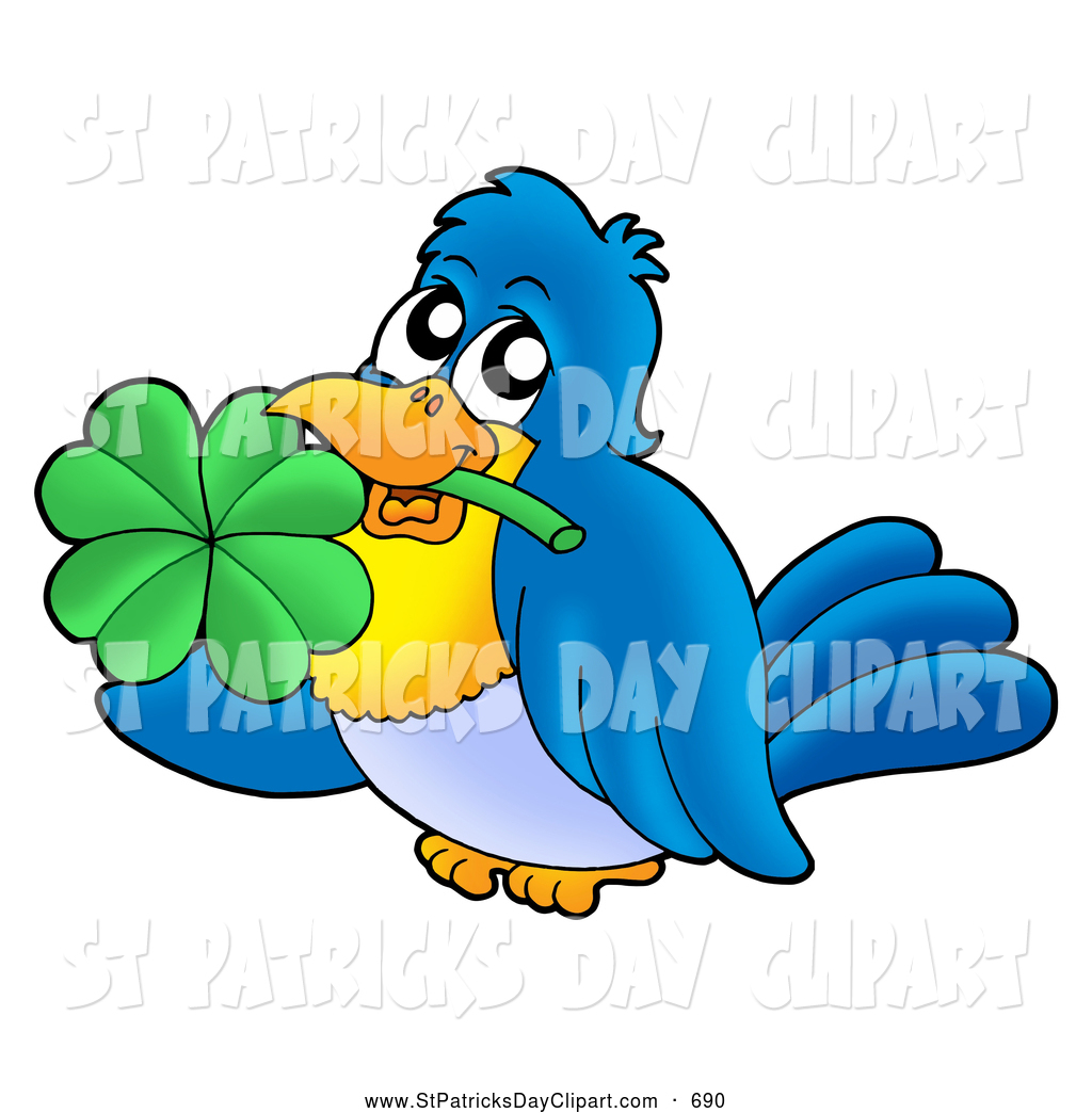 1024x1044 Clip Art Of A Happy Blue Bird Holding A Clover In His Mouth By