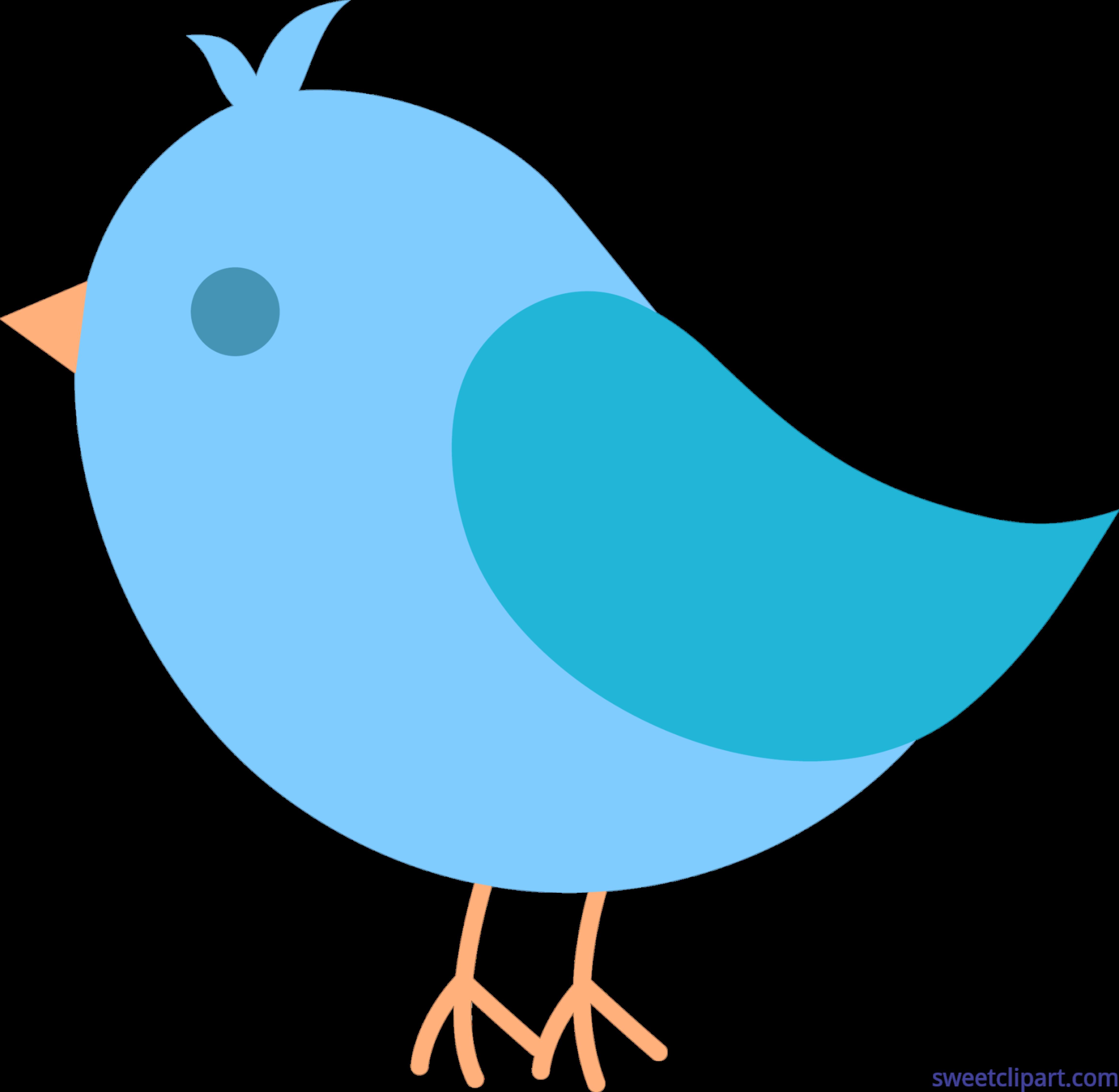 4621x4511 Cute Blue Bird Clip Art