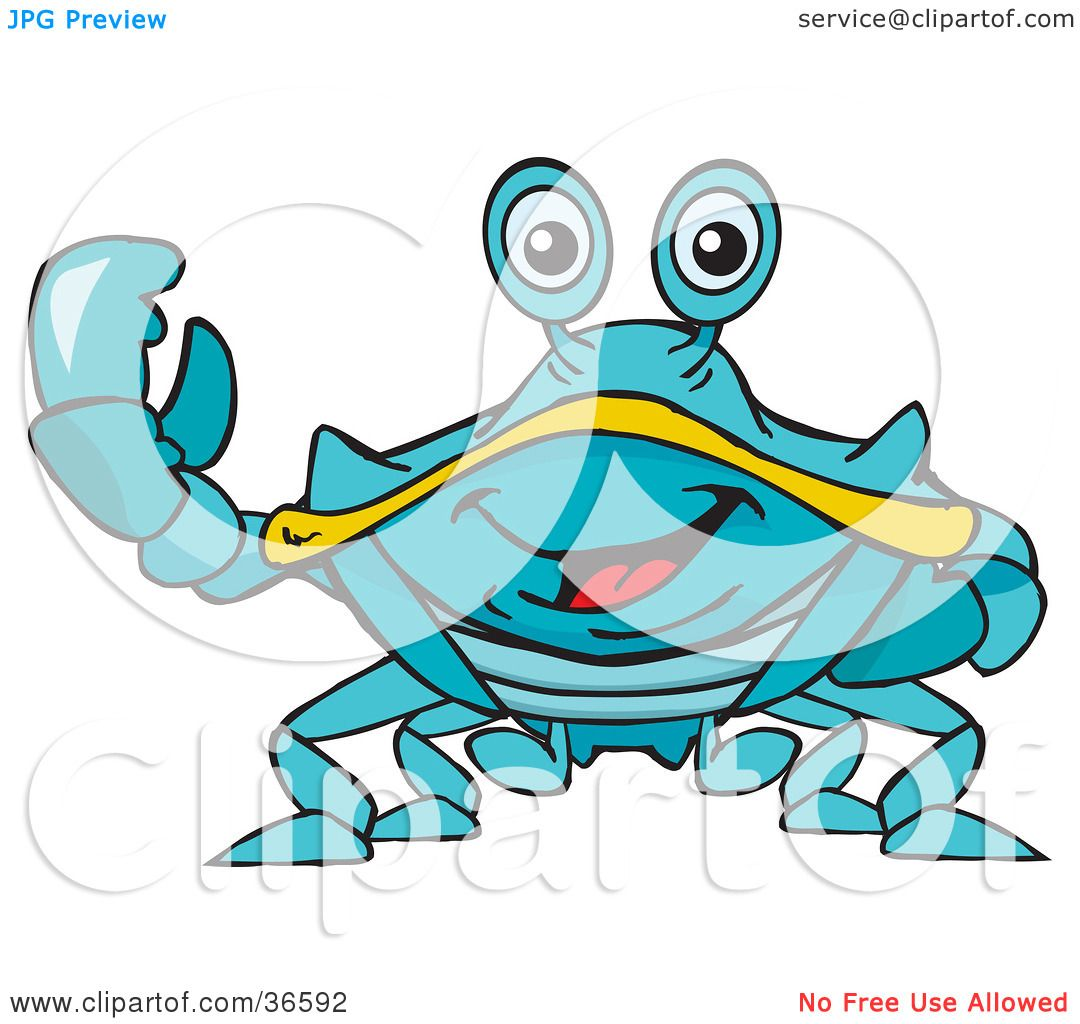 1080x1024 Clipart Illustration Of A Peaceful Blue Crab Smiling And Gesturing