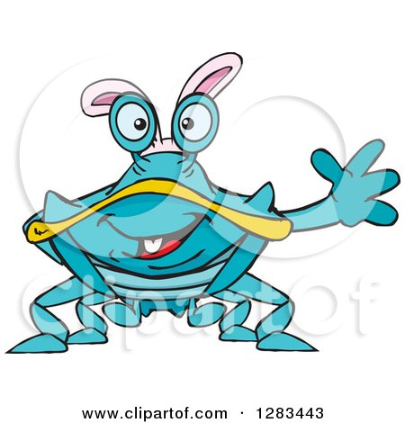 450x470 Clipart Of A Friendly Waving Blue Crab Wearing Easter Bunny Ears