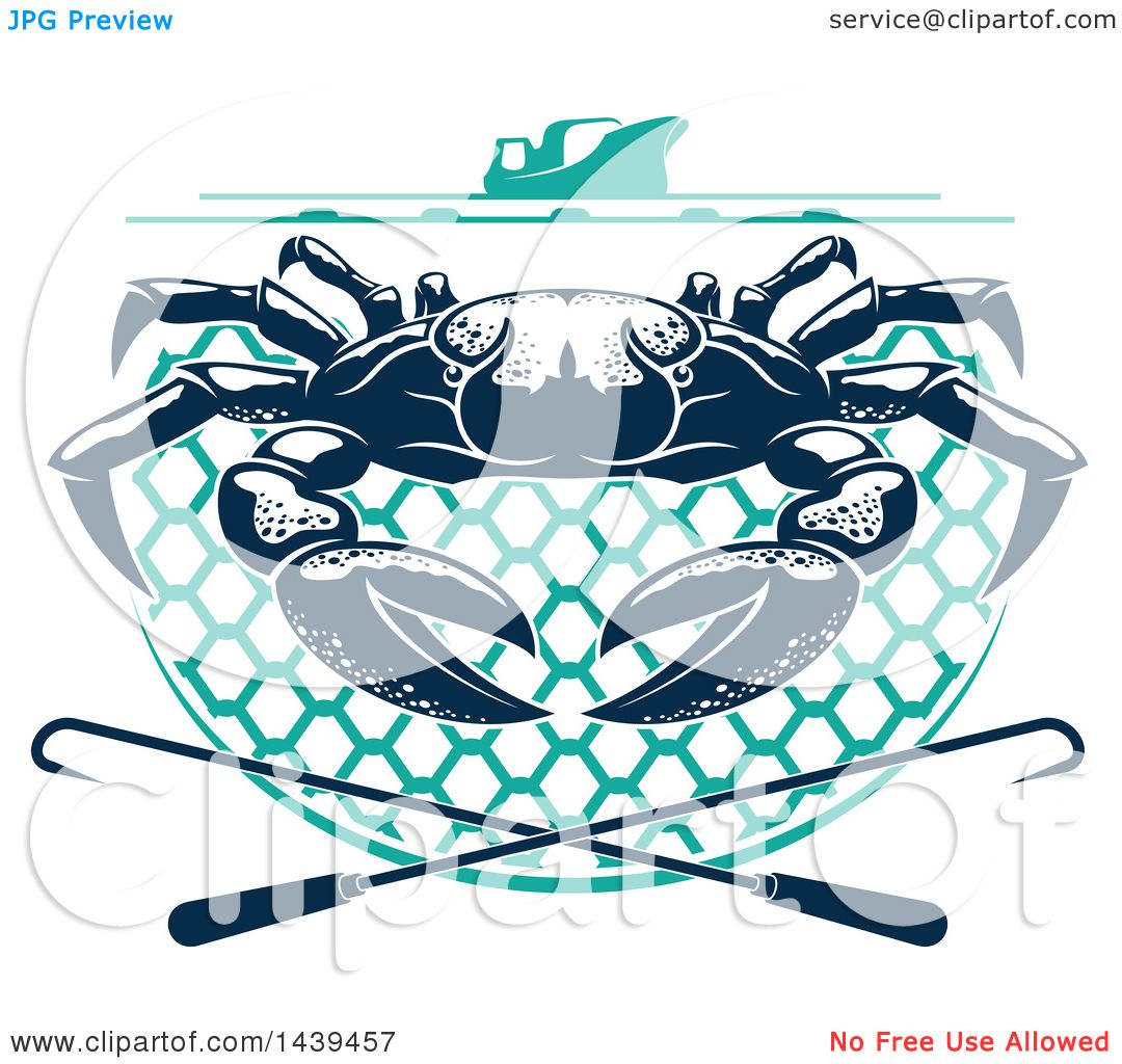 1080x1024 Clipart Of A Navy Blue Crab On A Net, Under A Boat With Hooks
