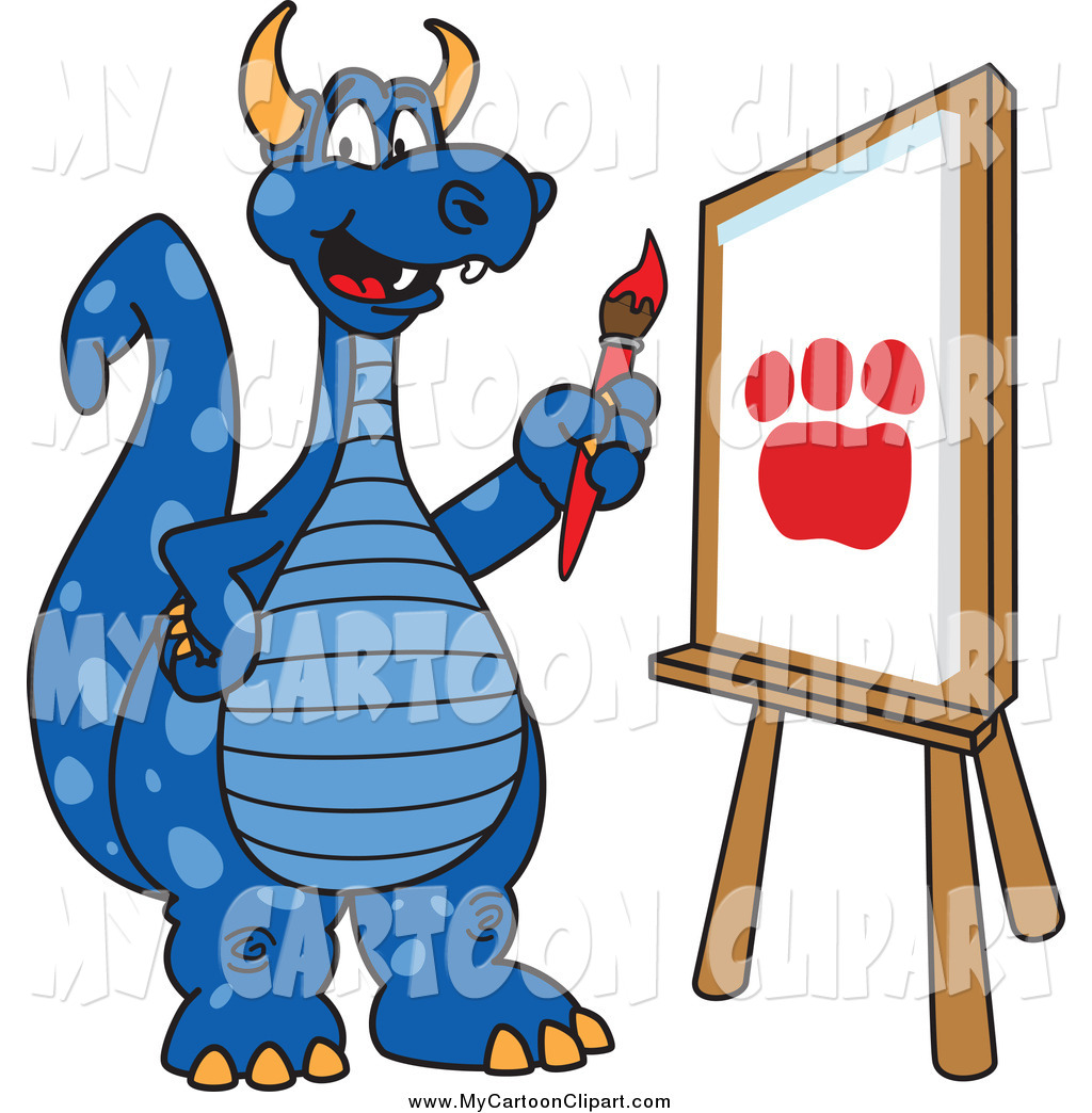 1024x1044 Clip Art Of A Blue Dragon Painting A Paw Print By Toons4biz