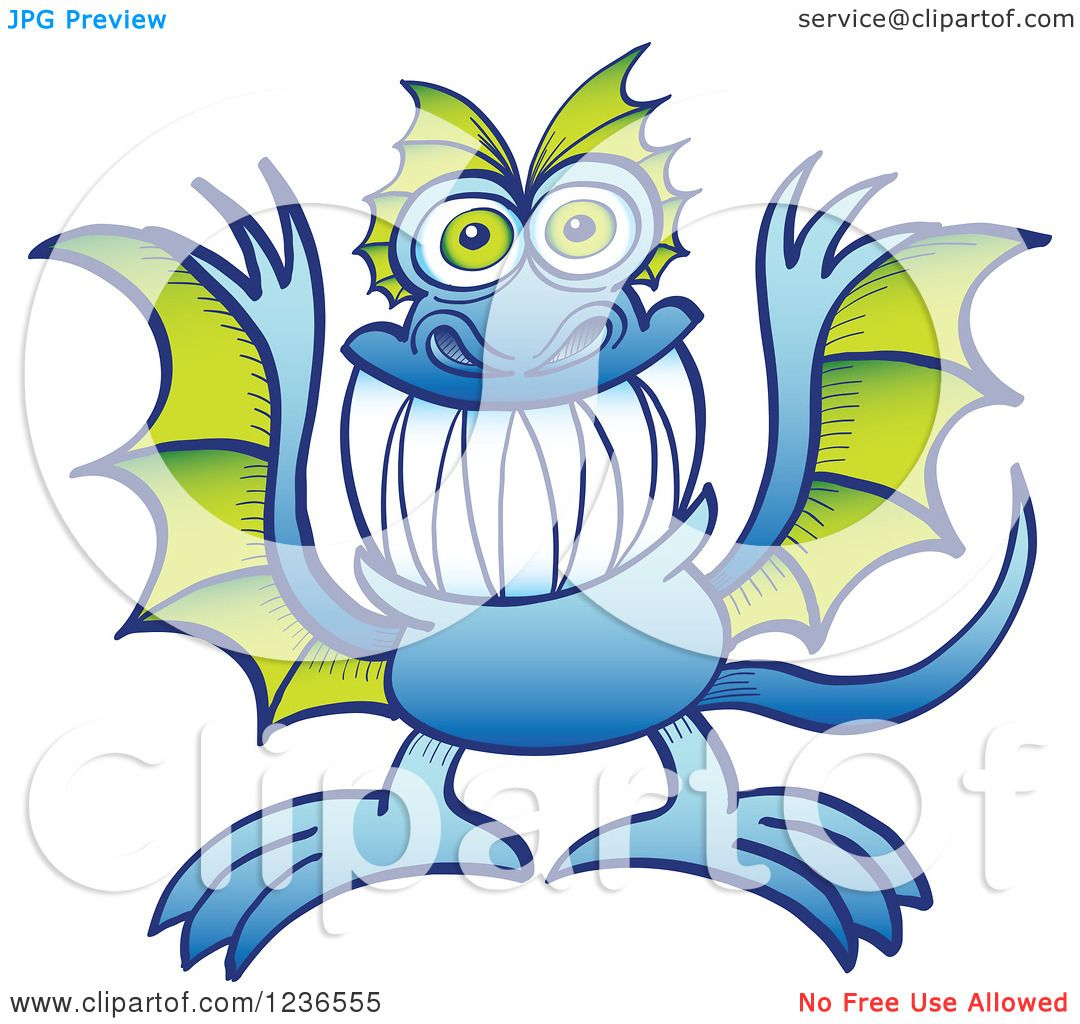 1080x1024 Clipart Of A Blue Dragon Monster With Green Wings