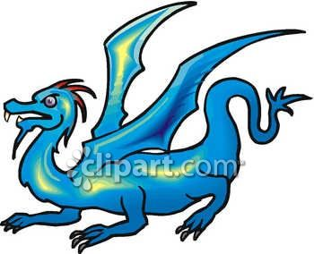 350x284 Royalty Free Clipart Image A Crouching Blue Dragon
